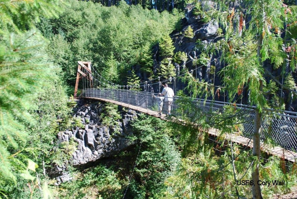 The Lava Canyon Trail features an impressive suspension bridge.