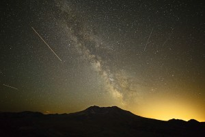 Airplane light trails over Mt St Helens
